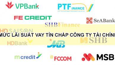 mức lãi suất vay tín chấp các công ty tài chính lớn
